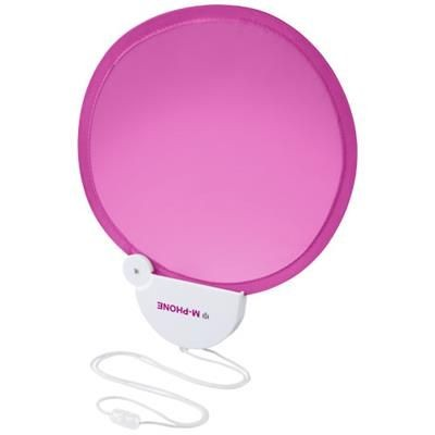 Picture of BREEZE FOLDING HAND FAN with Cord in Magenta-white Solid