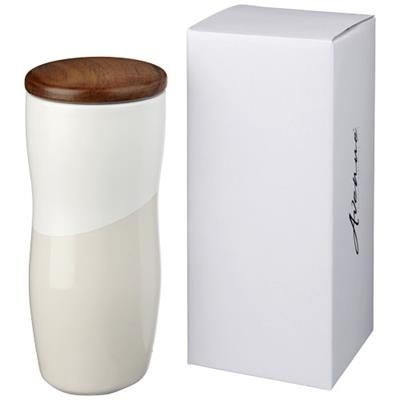 Picture of RENO 370 ML DOUBLE-WALLED CERAMIC POTTERY TUMBLER in White Solid
