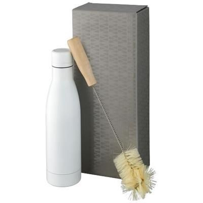Picture of VASA COPPER VACUUM THERMAL INSULATED BOTTLE with Brush Set in White Solid