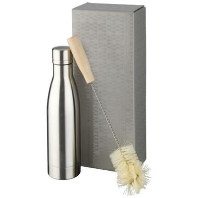 Picture of VASA COPPER VACUUM THERMAL INSULATED BOTTLE with Brush Set in Silver