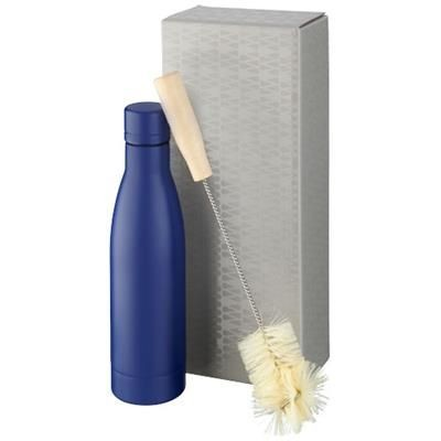 Picture of VASA COPPER VACUUM THERMAL INSULATED BOTTLE with Brush Set in Blue