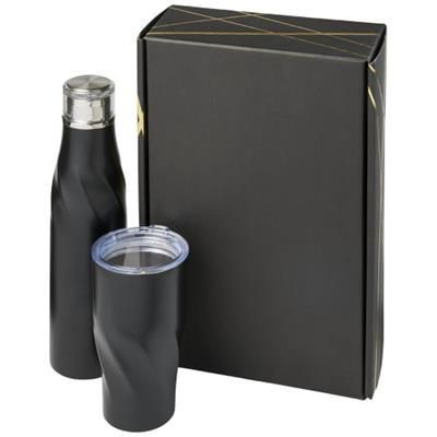 Picture of HUGO COPPER VACUUM THERMAL INSULATED GIFT SET in Black Solid