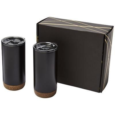 Picture of VALHALLA TUMBLER COPPER VACUUM THERMAL INSULATED GIFT SET in Black Solid