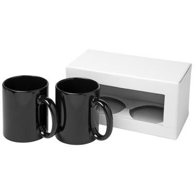 Picture of CERAMIC MUG 2-PIECES GIFT SET in Black Solid