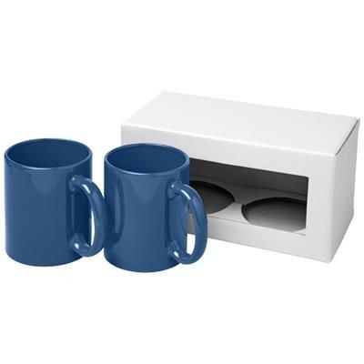 Picture of CERAMIC MUG 2-PIECES GIFT SET in Blue
