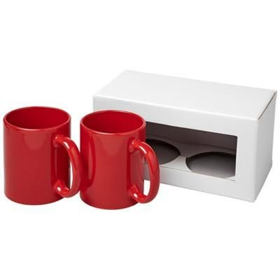 Picture of CERAMIC MUG 2-PIECES GIFT SET in Red