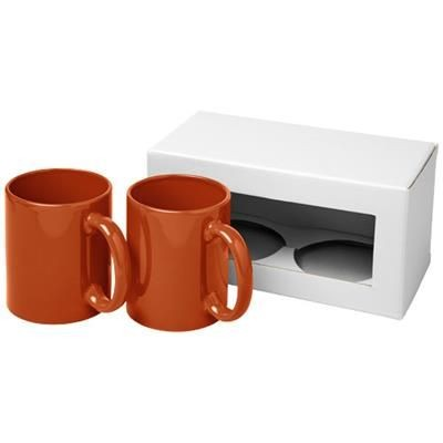 Picture of CERAMIC MUG 2-PIECES GIFT SET in Orange