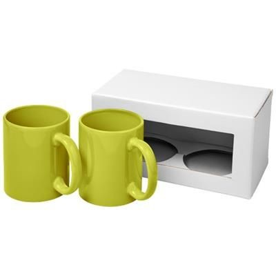 Picture of CERAMIC MUG 2-PIECES GIFT SET in Lime