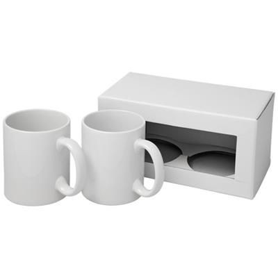 Picture of CERAMIC SUBLIMATION MUG 2-PIECES GIFT SET in White Solid