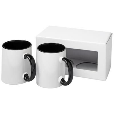 Picture of CERAMIC SUBLIMATION MUG 2-PIECES GIFT SET in Black Solid
