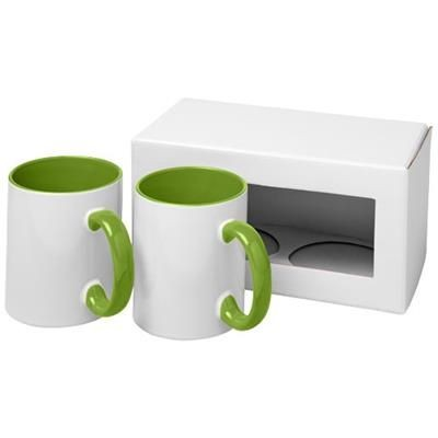 Picture of CERAMIC SUBLIMATION MUG 2-PIECES GIFT SET in Lime