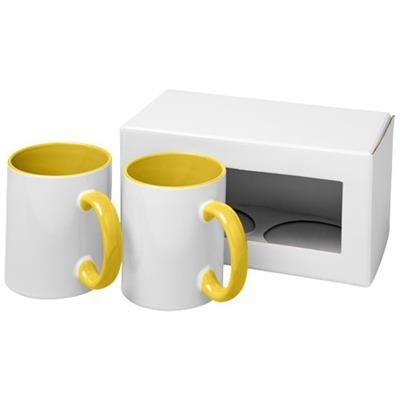 Picture of CERAMIC SUBLIMATION MUG 2-PIECES GIFT SET in Yellow