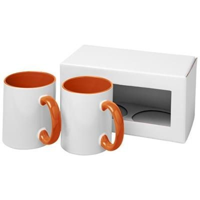 Picture of CERAMIC SUBLIMATION MUG 2-PIECES GIFT SET in Orange