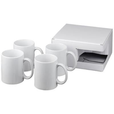 Picture of CERAMIC MUG 4-PIECES GIFT SET in White Solid