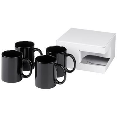 Picture of CERAMIC MUG 4-PIECES GIFT SET in Black Solid