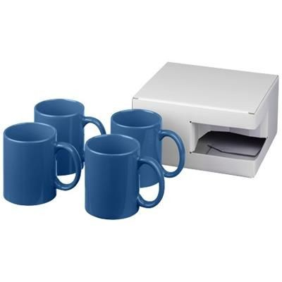 Picture of CERAMIC MUG 4-PIECES GIFT SET in Blue