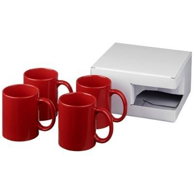 Picture of CERAMIC MUG 4-PIECES GIFT SET in Red