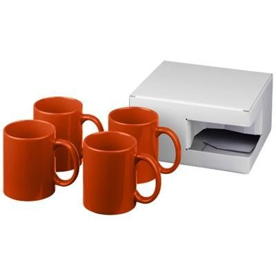 Picture of CERAMIC MUG 4-PIECES GIFT SET in Orange