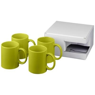 Picture of CERAMIC MUG 4-PIECES GIFT SET in Lime