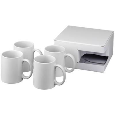 Picture of CERAMIC SUBLIMATION MUG 4-PIECES GIFT SET in White Solid