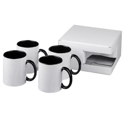 Picture of CERAMIC SUBLIMATION MUG 4-PIECES GIFT SET in Black Solid