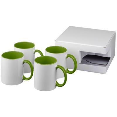 Picture of CERAMIC SUBLIMATION MUG 4-PIECES GIFT SET in Lime