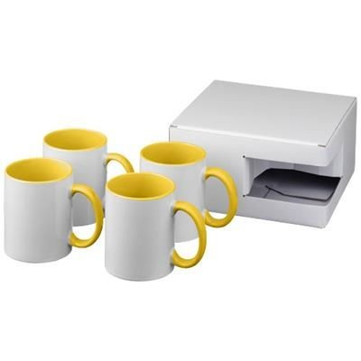 Picture of CERAMIC SUBLIMATION MUG 4-PIECES GIFT SET in Yellow