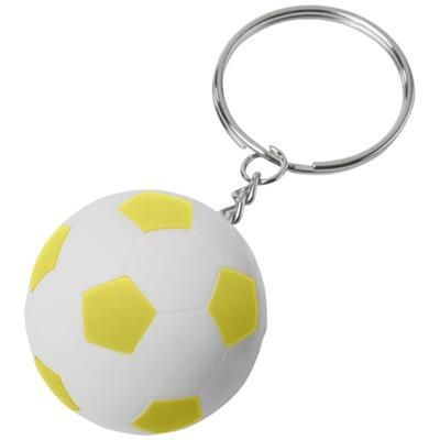 Picture of STRIKER FOOTBALL KEYRING CHAIN in White Solid-yellow