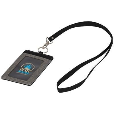 Picture of EYE-D HEATHERED BADGE HOLDER with Lanyard in Grey-black Solid