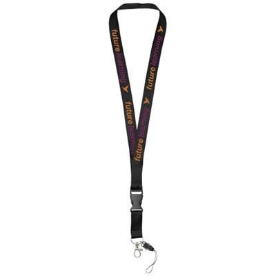 Picture of SAGAN MOBILE PHONE HOLDER LANYARD with Detachable Buckle in Black Solid