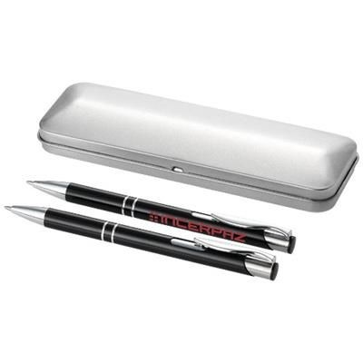 Picture of DUBLIN WRITING SET in Black Solid-silver