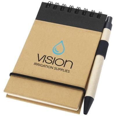 Picture of ZUSE A7 RECYCLED JOTTER NOTE PAD with Pen in Natural-black Solid