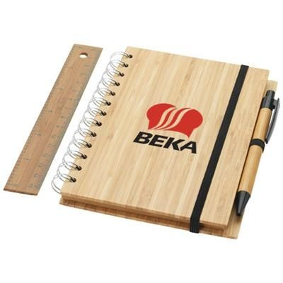 Picture of FRANKLIN B6 BAMBOO NOTE BOOK with Pen & Ruler in Wood