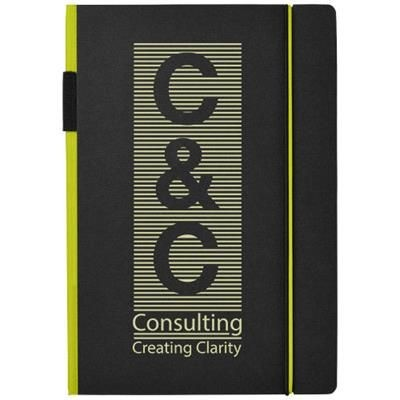 Picture of CUPPIA A5 HARD COVER NOTE BOOK in Black Solid-lime