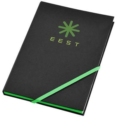 Picture of TRAVERS HARD COVER NOTE BOOK in Black Solid-green