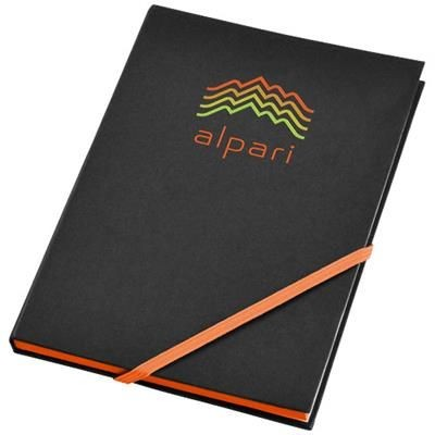 Picture of TRAVERS HARD COVER NOTE BOOK in Black Solid-orange