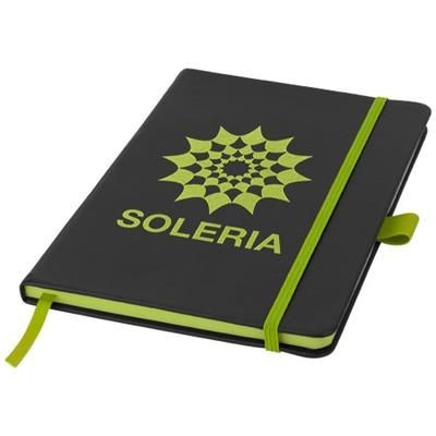 Picture of COLOUR EDGE A5 NOTE BOOK in Black Solid-lime