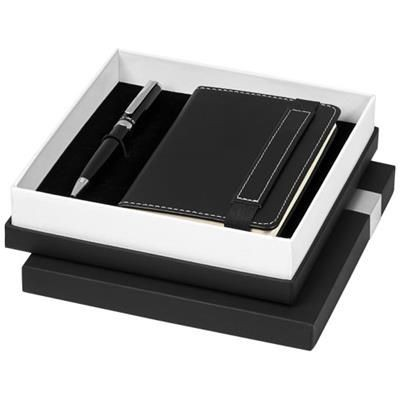Picture of LEGATTO A6 NOTE BOOK AND BALL PEN GIFT SET in Black Solid