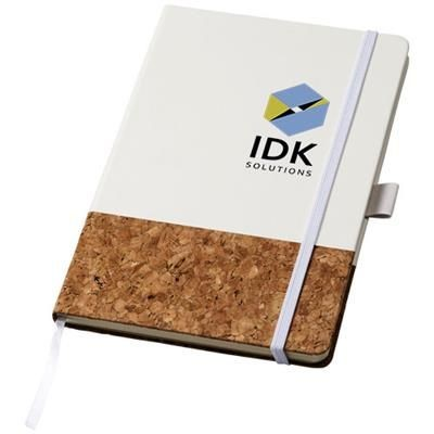 Picture of EVORA A5 CORK THERMO PU NOTE BOOK in White Solid