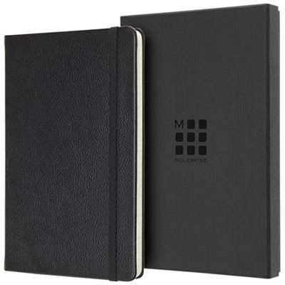 Picture of CLASSIC L LEATHER NOTE BOOK - RULED in Black Solid