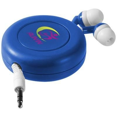 Picture of REELY RETRACTABLE EARBUDS in Royal Blue-white Solid