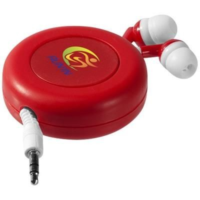 Picture of REELY RETRACTABLE EARBUDS in Red-white Solid