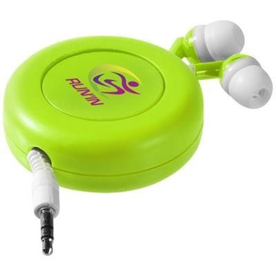 Picture of REELY RETRACTABLE EARBUDS in Lime-white Solid