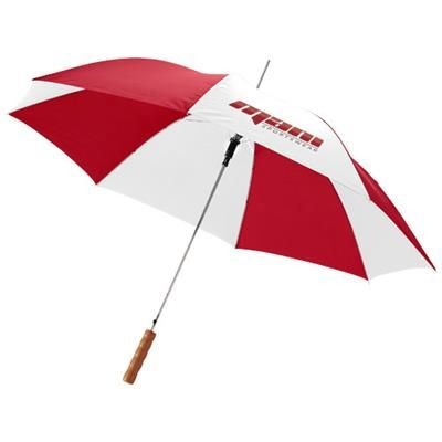 Picture of LISA 23 AUTO OPEN UMBRELLA with Wood Handle in Red-white Solid