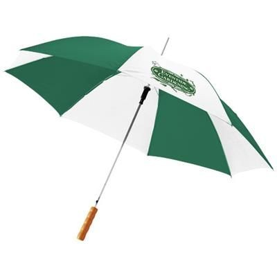 Picture of LISA 23 AUTO OPEN UMBRELLA with Wood Handle in Green-white Solid