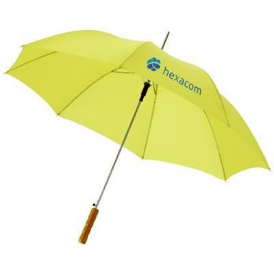 Picture of LISA 23 AUTO OPEN UMBRELLA with Wood Handle in Neon Fluorescent Green