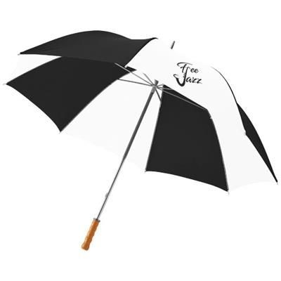 Picture of KARL 30 GOLF UMBRELLA with Wood Handle in Black Shiny-white Solid