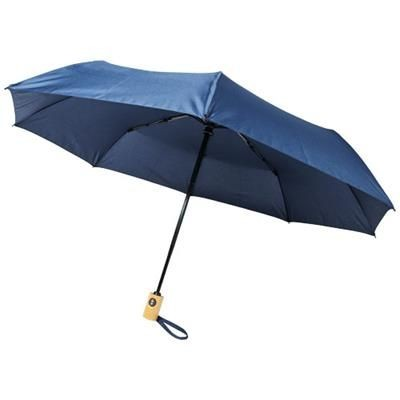 Picture of BO 21 FOLDING AUTO OPEN-CLOSE RECYCLED PET UMBRELLA in Navy