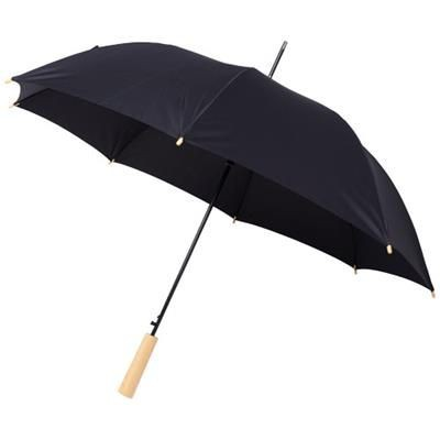 Picture of ALINA 23 AUTO OPEN RECYCLED PET UMBRELLA in Black Solid
