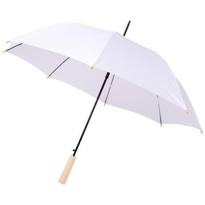 Picture of ALINA 23 AUTO OPEN RECYCLED PET UMBRELLA in White Solid